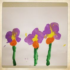 A spring time art project where some KinderCare students drew flowers.     Age: PreK and Kindergarten