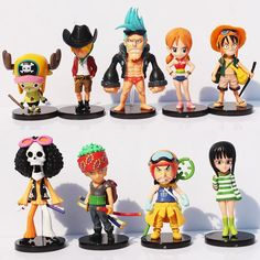 Cute, lovely action figures of the Strawhat Pirates! Comes in a set of all 9 characters of Luffy's crew! Gender: Unisex Dimensions: 6-9cm (height) Theme: Movie & TV Characters: Strawhat Pirates - Luff