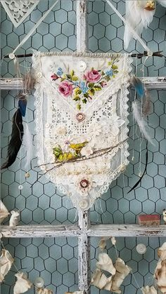 Flora and Fauna Vintage Spring Banner for by LittlePrairieSparrow Shabby Chic Stil, Shabby Chic Crafts, Vintage Crafts, Embroidery Art, Embroidery Patterns, Fabric Art, Fabric Crafts, Spring Banner, Doilies Crafts