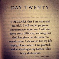 My Declaration - from Joel Osteen's book- I Declare: 31 Promises to Speak Over Your Life