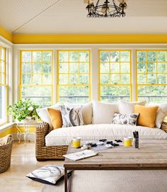 Find inspiration and fun sunroom decorating ideas for your home in 11 beautiful sunrooms. They'll help you turn your sunroom into everyone's favorite room! Interior Exterior, Home Interior, Interior Design, Yellow Interior, Country Interior, Interior Modern, My Living Room, Living Room Decor, Living Spaces