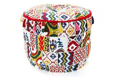Patchwork Pouf, Multi on OneKingsLane.com would go great in my planned Americana themed guest room. The headboards will be constructed of two boards painted in a quilt pattern very much the same as this Ikat inspired look. Love these variations of Ikat.