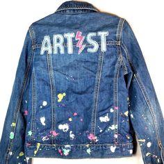 GAP Kids x ED Denim Jean Jacket M Regular Girls Artist Splash Paint  #GapKidsxED #JeanJacket #Everyday