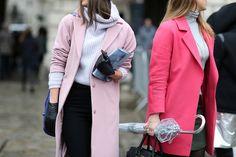 70 Amazing London Street-Style Snaps #refinery29  http://www.refinery29.com/london-fashion-week-street-style#slide25  Pops of pink brighten an otherwise dreary day.