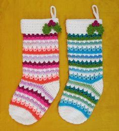 Crochet Ornaments Link Blast: 10 Free Crochet Patterns for Christmas Stockings Crochet Christmas Stocking Pattern, Crochet Stocking, Cross Stitch Stocking, Crochet Christmas Ornaments, Holiday Crochet, Crochet Home, Crochet Gifts, Crochet Yarn, Free Crochet