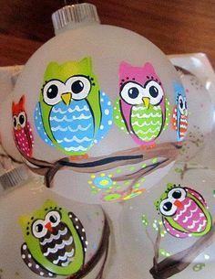 Hand Painted Owl/Owls  4 Glass Ornament by kellyrobertsdesigns, $16.00