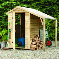 This Forest Garden Pressure Treated Overlap Apex Shed with Lean To offers extra sheltered storage space, which is ideal for storing logs or garden. Garden Buildings, Garden Structures, Outdoor Structures, Curved Pergola, Pergola With Roof, Pergola Kits, Large Wooden Sheds, Shed With Log Store, Mini Shed