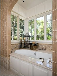 Home design-ranch bump out bath-- Traditional Bathroom Drop In Tubs With Marble Design, Pictures, Remodel, Decor and Ideas Cl Design, House Design, Design Ideas, Design Inspiration, Bath Design, Dream Bathrooms, Beautiful Bathrooms, Master Bathrooms, White Bathrooms