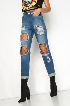 Siskakia 2017 boyfriend jeans for women high waist ripped Jeans Net stockings crimping big hole jeans Spring Summer distressed Jean Outfits, Fall Outfits, Casual Outfits, Cute Outfits, Fashion Outfits, Cute Concert Outfits, Girly Outfits, Fashion Pants, Fashion Fashion