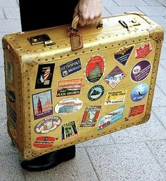 """Vintage Suitcase. let students create their own sticker for their """"home country."""" When they present their report, they can give the other students a sticker to put on their suitcase."""