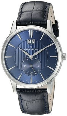 Claude Bernard 64005 3 BUIN Men's Watch Elegant Blue Dial With 60 Second Subdial. 100% Authentic. Free US Shipping. MAKE AN OFFER!
