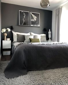 Gorgeous dark modern bedroom furniture tips for 2019 Home Decor Bedroom, Modern Bedroom, Bedroom Inspirations, Bedroom Interior, Masculine Bedroom, Bedroom Makeover, Luxurious Bedrooms, Bedroom Sets, Small Guest Rooms