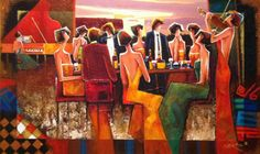 "Original Painting ""Gathering At the Club"" by Charles Lee"