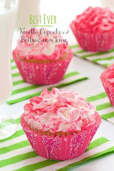 Best Ever Vanilla Cupcakes and Buttercream, the name says it all! This is what every wedding cake should taste like!