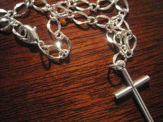 Jewelry Cross Bracelet Simple Cross Bracelet Silver by CrucifixArt, $21.00