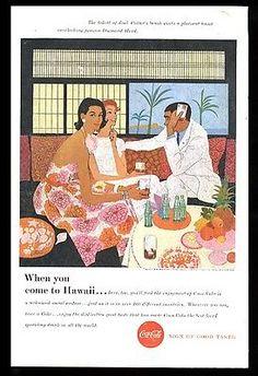 1957 Coke Jack Potter Hawaii art Coca-Cola vintage print ad