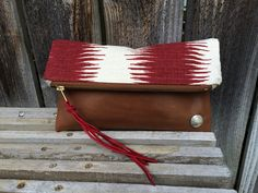 Genuine Leather // Navajo Fabric // Clutch by indigosoulcompany on Etsy