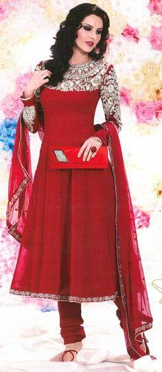 $98.88 Red Faux Georgette Thread Work Anarkali Suit 26011