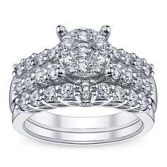 U Two 14K White Gold Diamond Wedding Set 1 1/3 ct tw