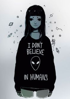''I don't believe in humans'' Illustration Print DIN A3