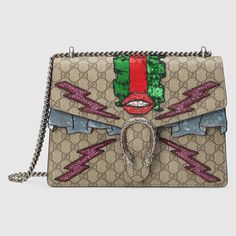 Gucci Women - Gucci Beige/Ebony Dionysus GG Supreme embroidered bag w/lips on front  $3,800.00