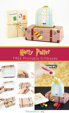 Free Harry Potter Printable Treat Boxes for your Next Potter Party! by elisa, DIY and Crafts, Free Harry Potter Printable Treat Boxes for your Next Potter Party! by elisa. Baby Harry Potter, Harry Potter Fiesta, Harry Potter Thema, Classe Harry Potter, Theme Harry Potter, Harry Potter Printables, Harry Potter Gifts, Harry Potter Crafts Diy, Harry Potter Wedding Gifts