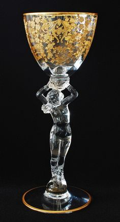 "My grandfather worked for Cambridge Glass back in the and They made some of the most beautiful glass of the Statuesque gold encrusted Claret ""Diane"" by Cambridge Verre Design, Glass Design, Cut Glass, Glass Art, Cristal Art, Crystal Glassware, In Vino Veritas, Objet D'art, Antique Glass"