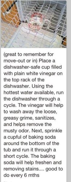How to clean a dishwasher. To do about every 6 months. Great to do when moving into a new home. by marietta