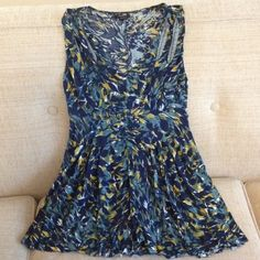 Deletta, Anthropologie Top Blue, moss green and soft mustard  yellow. Pleats. Good used condition. Anthropologie Tops Tank Tops