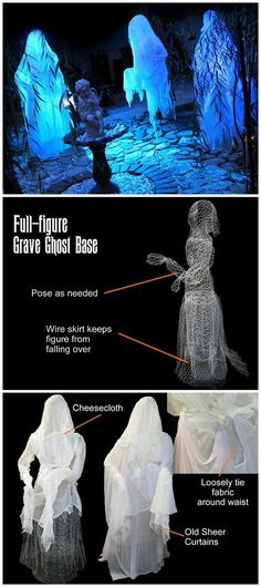DIY Life Size Ghost Tutorial from DIY Network. These ghost are made from chicken wire and clothed with cheesecloth. Good tutorial with a detailed materials list.
