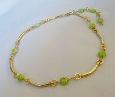Ankle Bracelet  with Green Millefiori Glass by PennysBeadQueen2, $15.50
