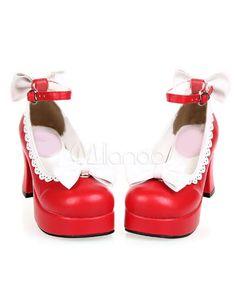 085c08e868c Sweet Chunky Heels Shoes Platform White Bows Trim Ankle Strap  Shoes