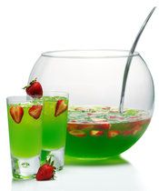 Midori Berry Bliss   (1.5 parts Midori Melon Liqueur  1 part vanilla vodka  1/2 part Skyy Raspberry Infusions Vodka  Splash of Pineapple juice  Splash of soda water  Strawberry slices for garnish)