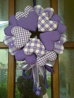 Country heart wreath in lavender. Valentine Day Wreaths, Valentine Decorations, Valentine Crafts, Holiday Crafts, Christmas Wreaths, Fabric Wreath, Diy Wreath, Burlap Wreath, Sewing Crafts
