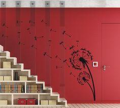 Vinyl wall art sticker - Dandelion floral flower - 60/90/120cm tall - WS1004