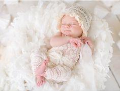ROMPER / BONNET / TIEBACK :cream lace by babyportraitpropshop