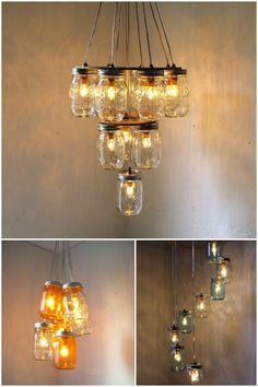 potes de vidros como luminarias