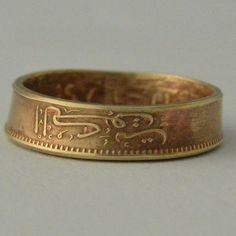 Coin Ring/ Münzring 1 Fils(Kuwait) size(USA) 6.5/ Größe(DE) 17 ;size/Größe(mm/inches): 53/ 2 1/8
