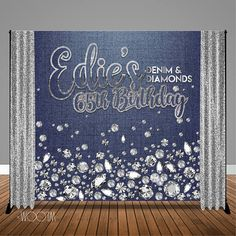 Denim and Diamonds Birthday Backdrop / Step & Repeat 50th Birthday Party For Women, Birthday Party Desserts, Fabulous Birthday, 50th Party, 40th Birthday Parties, Sweet 16 Birthday, 85th Birthday, Denim Baby Shower, Diamonds And Denim Party