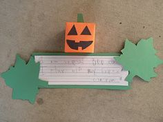 Make a cube pumpkin after reading Spookley. Then, students have to write about what makes it unique.
