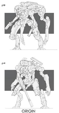 Line work_Mech03 by Ray Jin on ArtStation.