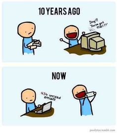 nice Email: Then and Now! Check more at http://oddstuffmagazine.com/funny-pictures-november-12-2014.html