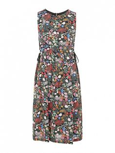 Topshop Woodland Print Tie-Side Midi Dress