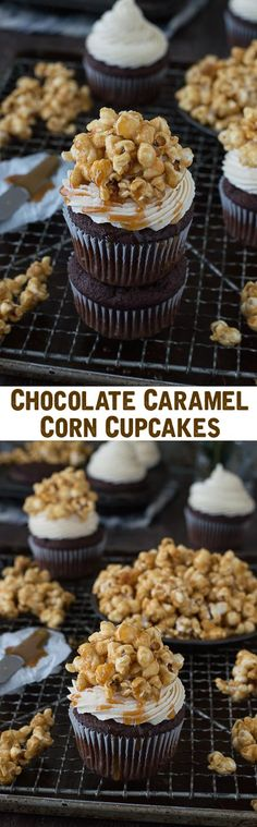 Rich, moist chocolate cupcakes with caramel buttercream and topped with homemade caramel corn!