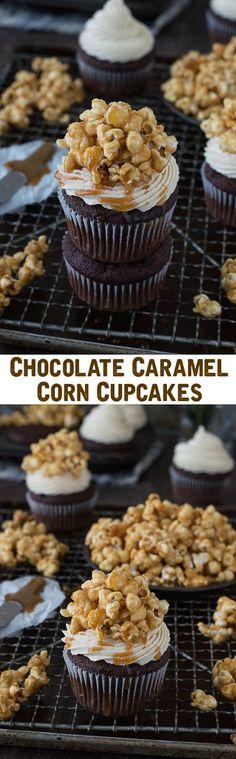 Cupcakes de chocolate con buttercream de palomitas de caramelo