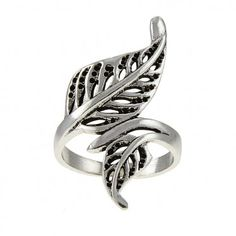 Charming Sterling Silver Feather Ring. Only at Steelza.com Sterling Silver Rings, Silver Jewelry, Feather Ring, Leaf Ring, Handmade Silver, Pendants, Pure Products, Bracelets, Earrings