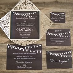 classic black chalkboard stringlights laser cut wedding invitations EWWS074 as low as $2.09 |