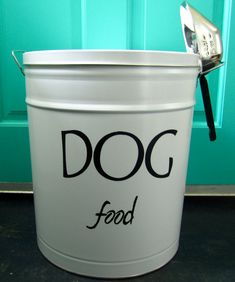Need this for Smurphy's food! Pet Food Storage Tin by TheBeesKneesWorkshop on Etsy, $35.00