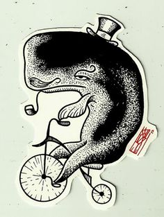 Ever seen a grumpy whale on a bike, wearing a top hat and sporting a sweet moustache, with a pipe in its mouth, pedalling with its tail before?