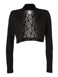 MIRAY LACE PARTY L/S BOLERO, Black, main